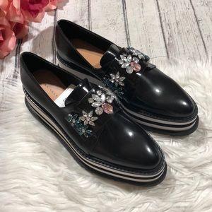 NWT Zara Platform Embellished Slip On Loafers